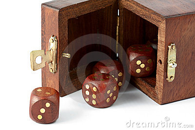 Opened box with wooden dice