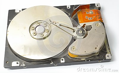 Opened broken hard disk drive from the side