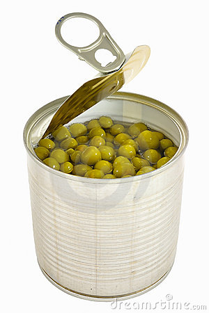 Opened can with pea with key lid