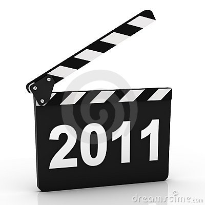 Opened Clapboard in Perspective with 2011 year