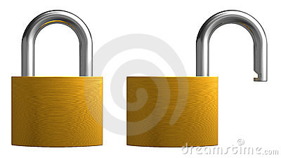 Opened and closed padlocks