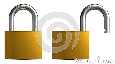 Opened and closed padlocks