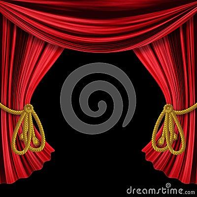 Free Opened Curtains On Black Background Stock Image - 29290601
