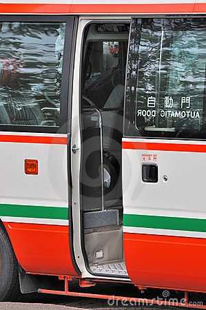 Opened door of mini bus