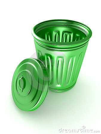 Opened and empty green trash bin over a white