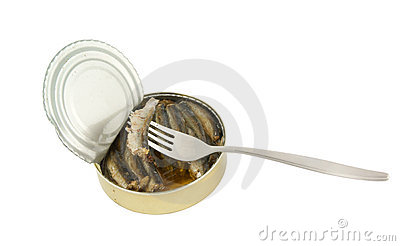 Opened fish can with fork isolated