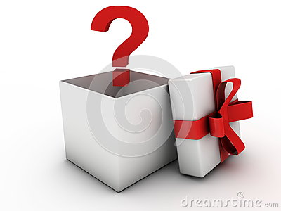 Opened gift box with question mark