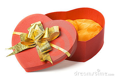 Opened heart shape box