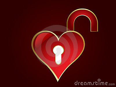 Opened heart shaped lock