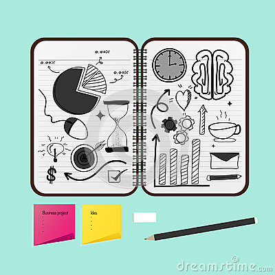 Free Opened Notebook With Business Project Drawings. Royalty Free Stock Photos - 99167158