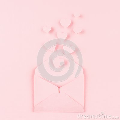 Free Opened Paper Envelope With Fly Out Hearts As Love Message On Soft Pink Color Background. Valentine Day Concept For Design. Royalty Free Stock Photos - 109235898