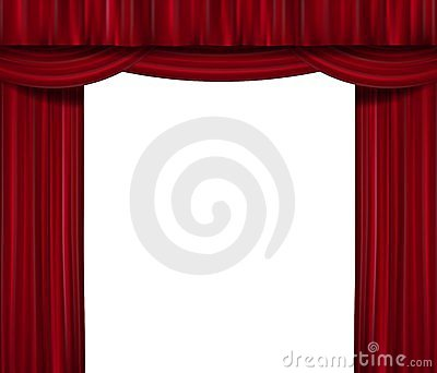 Opened red curtain