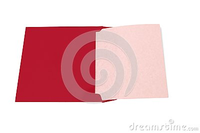 Opened Red Envelope With Blank Paper