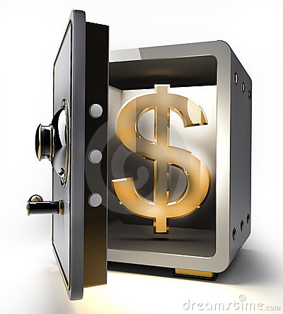 Opened safe with gold dollar symbol 3d