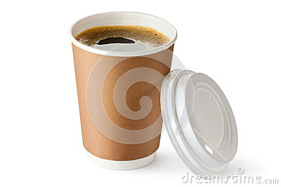 Opened take-out coffee in cardboard cup Stock Photo