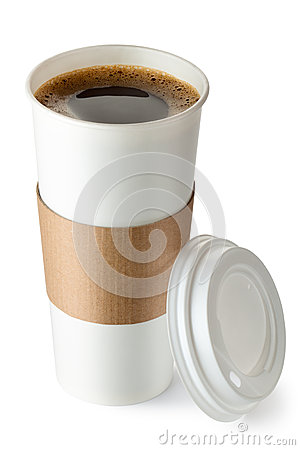 Opened take-out coffee with cup holder Stock Photo