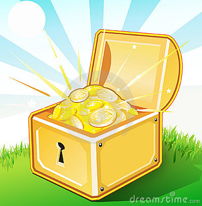 Free Opened Treasure Box With Gold Royalty Free Stock Images - 3160059
