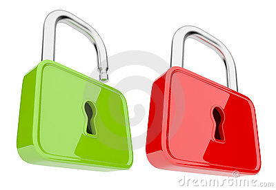 Opened and unlock  lock 3D. Isolated. Security