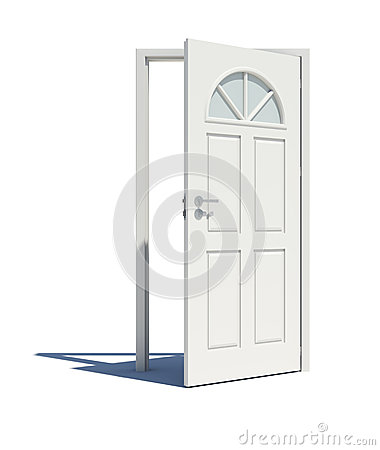 Free Opened White Door With Shadow Stock Images - 50592024