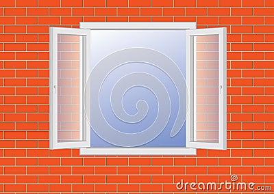 Opened window on a brick wall