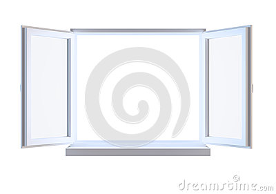 Opened window isolated on white