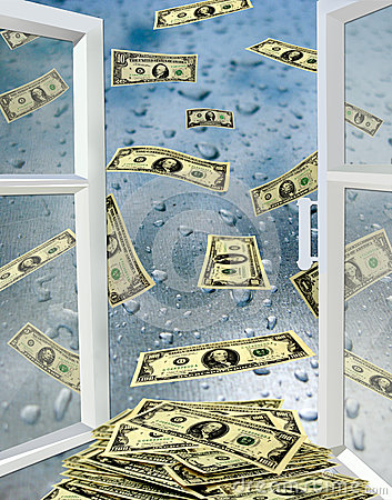 Free Opened Window With Drops Of Water And Dollars Stock Photo - 35648800
