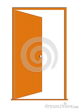 Opened Wood Door Illustration