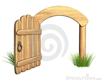 Opened wooden door
