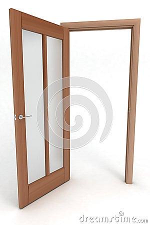 Free Opened Wooden Door Stock Photography - 2411822