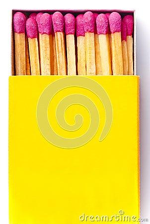 Opened yellow matchbox