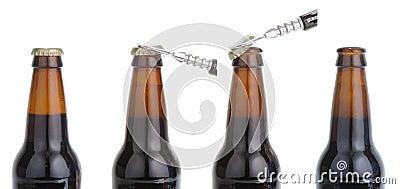 Opening beer bottle