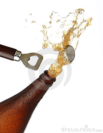 Opening a bottle of cold beer, splash image.