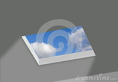 Opening in ceiling with sky