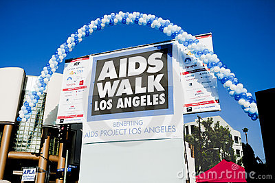 Opening Ceremonies Stage for Annual AIDS WALK LA Editorial Stock Image