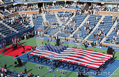 The opening ceremony of  US Open men final match  at Billie Jean King National Tennis Center Editorial Photo