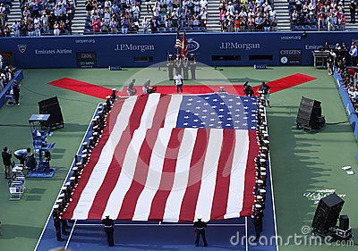 The opening ceremony before US Open 2013 women final match at Billie Jean King National Tennis Center Editorial Photo