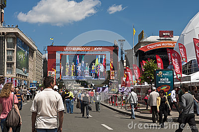 Opening in Kyiv  Fan Zone  EURO 2012 Editorial Stock Photo
