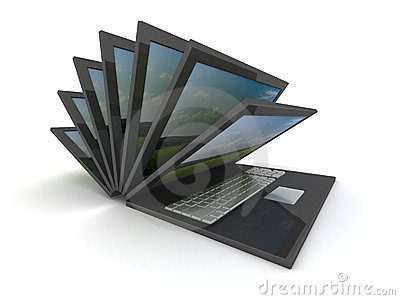 Opening laptop on a white background.