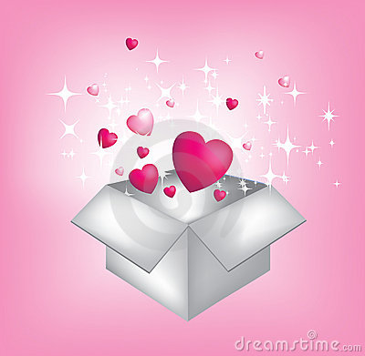 Opening a present full of hearts and stars