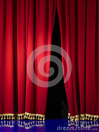 Opening in stage curtain
