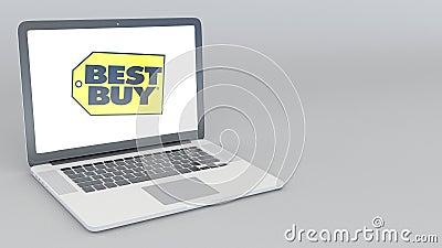 Openings en sluitende laptop met Best Buy-embleem 4K redactieanimatie royalty-vrije illustratie