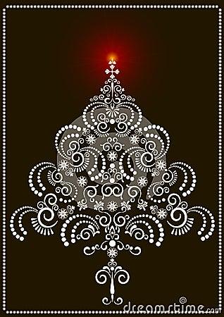 Openwork Christmas tree on a dark background.Card