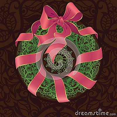 Openwork decoration stylized Christmas wreath