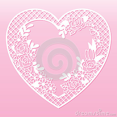 Free Openwork Floral Frame In The Shape Of A Heart. Laser Cutting Template. Stock Photos - 97486693