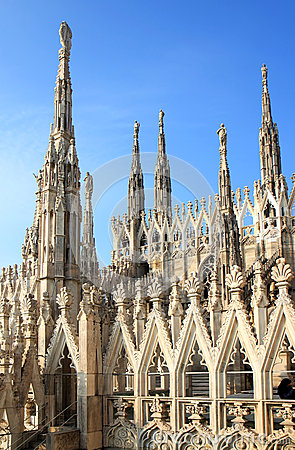 Free Openwork Pinnacles At Milan Cathedral In Italy Stock Photos - 42080463