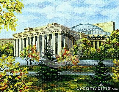 Opera and ballet theatre, Novosibirsk, in autumn