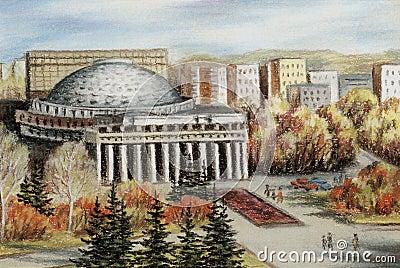 Opera and ballet theatre, Novosibirsk, pastel