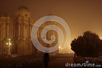 Opera building in fog