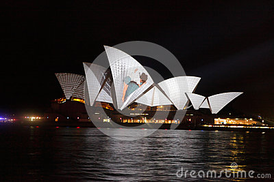 Opera House Australia during Vivid Sydney Festival Editorial Stock Photo