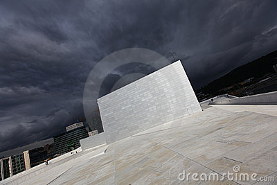 Opera house building in Oslo, modern architecture